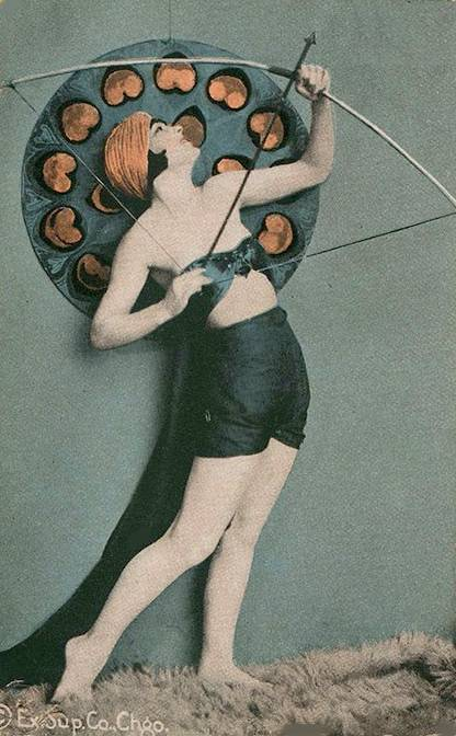 POSTCARD+-+CHICAGO+-+EXHIBIT+SUPPLY+COMPANY+-+ARCADE+CARD+-+PIN-UP+-+WOMAN+WITH+BOW+AND+ARROW+-+COLORIZED+-+1920s