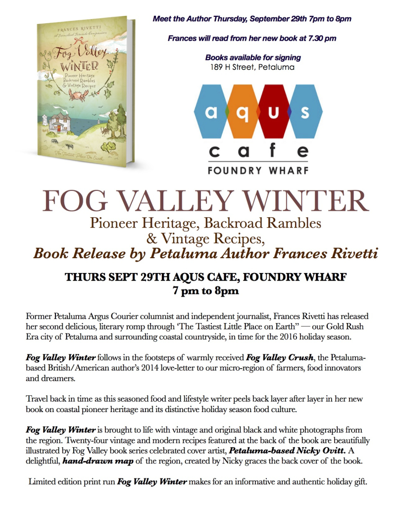 Fog Valley Winter Book Release at Aqus Cafe
