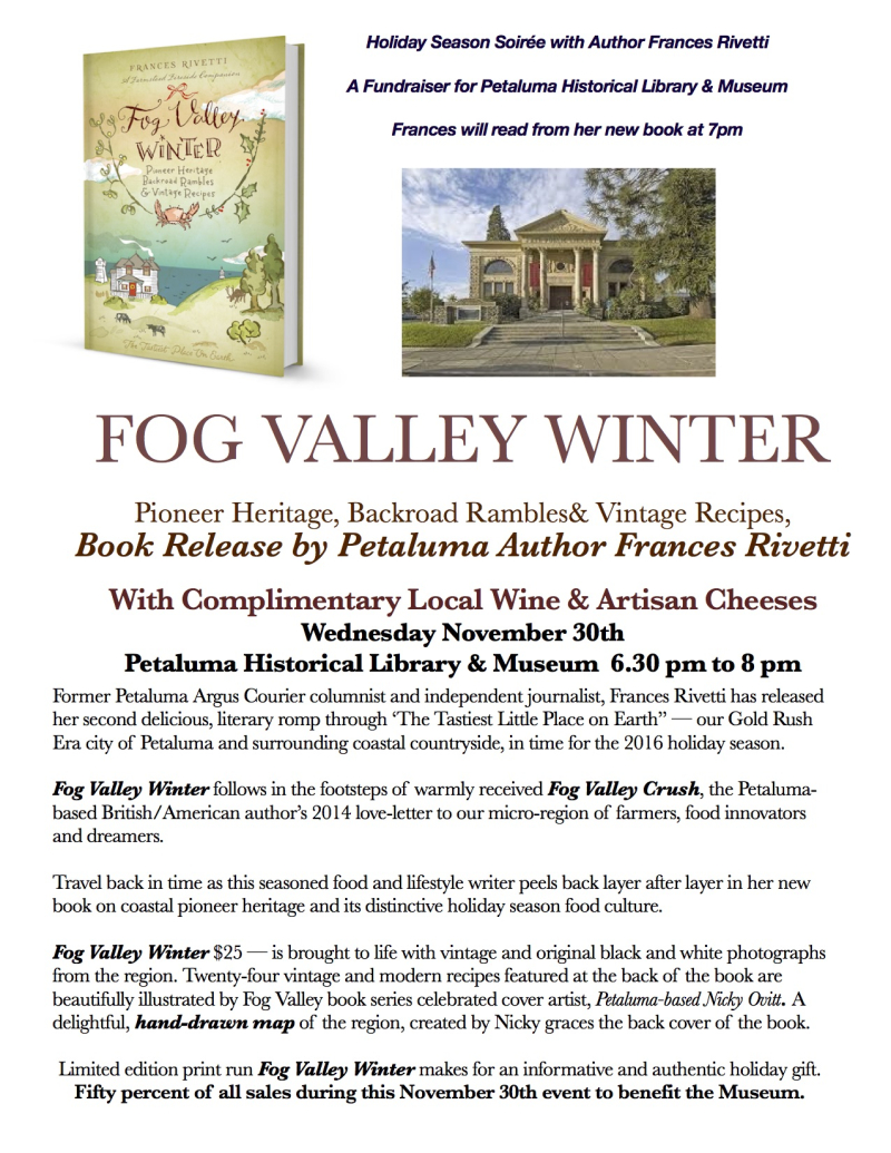 Petaluma Historical Library & Museum Nov 30th Fundraiser